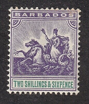 Barbados 1892 2/6d violet/green crown CA S.G.115  mint hinged