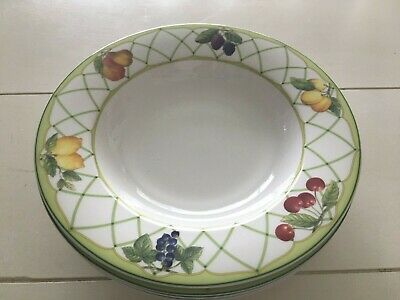 Set of 4 Mikasa Optima Fine China FRUIT RAPTURE Rimmed Soup Bowls EUC