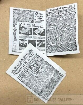 2 Newspapers, Miniature Dolls House, 1.12 Scale Accessory