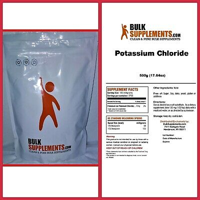 POTASSIUM CHLORIDE Powder Clean and Pure Bulk Supplements CHOOSE PACKAGE