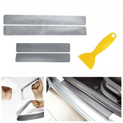 4Pcs Cars Door Sill Scuff Carbon Fiber Sticker Welcome Pedal Protect Accessory