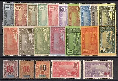 GUADELOUPE: SERIE COMPLETE DE 22 TIMBRES NEUF*/(*) N°55/76 Cote: 59,60 €