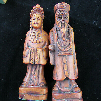 Vintage Hand Carved Wood Asian Oriental Figures 32 Chess Pieces Felt Bottoms