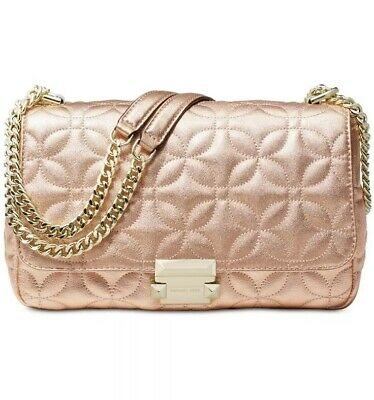 2c0afaa10bc5 NWT Michael Kors Sloan Light Rose Gold Quilted Leather Large Chain Shoulder  Bag