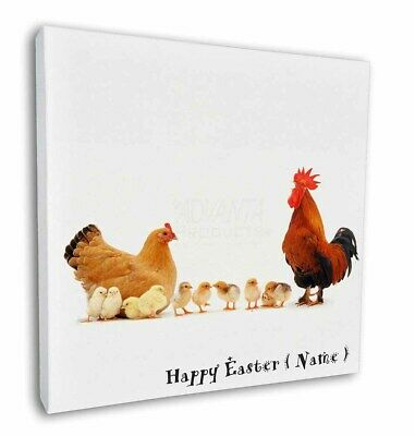"Personalised Hen, Cockerel+Chicks 12""x12"" Wall Art Canvas Decor, , AB-107PEA-C12"