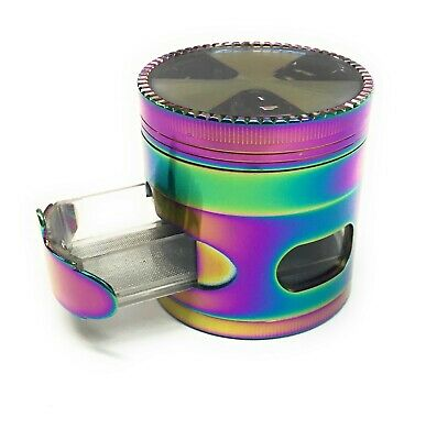 New 2.5 Inch 4 Piece Rainbow Tobacco Herb Spice Grinder With Removable Drawer
