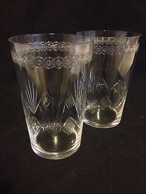 Pair Of Edwardian Crystal Tall Tumblers,