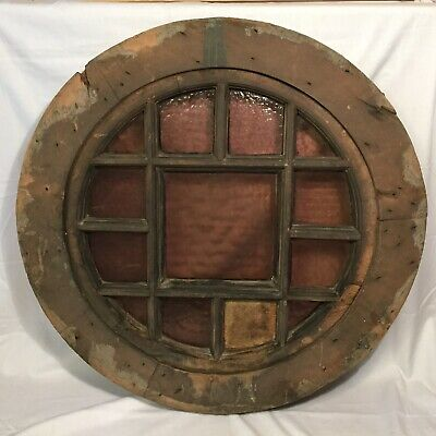 Antique Round Window Oculus Architectural Salvage Early Example