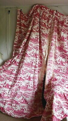 Vintage Curtains Red Toile Cotton Panels, French Chateau Chic Style - Interiors