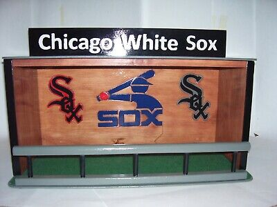 Bobble heads display case Chicago White Sox with green felt floor stained Cherry