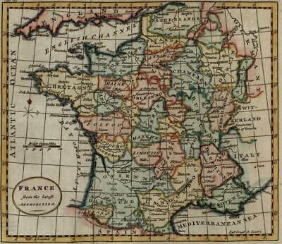 France from the Best Authorities 1792 Kitchin lovely hand colored antique map