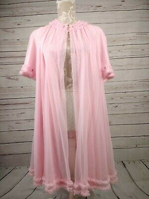 Vintage St Michael Pink 60s Nylon Negligee Nightdress Bust 34-36 Open Fronted