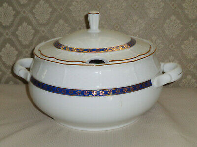 THU394 Fine Porcelain Soup Tureen with Slotted Lid THUN Cobalt Gold Czech