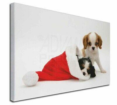 """Christmas King Charles 30""""x20"""" Wall Art Canvas, Extra Large Pictu, AD-SKC8-C3020"""