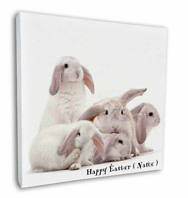 """Personalised White Easter Rabbits 12""""x12"""" Wall Art Canvas Decor, Pi, AR-5PEA-C12"""