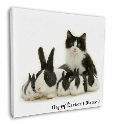 """Personalised Easter Rabbits+Cat 12""""x12"""" Wall Art Canvas Decor, Pict, AR-6PEA-C12"""