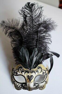 Gold Cipriani Venetian Masquerade Eye Mask with Feathers Rhinestones and Jewel
