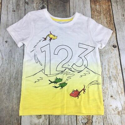 Dr. Seuss Boy's 1-2-3 Fish Graphic T Shirt Yellow Ombre Dyed Youth Size 4T NWT