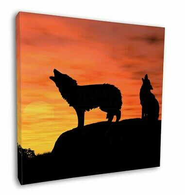 """Wolves  in Love 12/""""x12/"""" Wall Art Canvas Decor AW-9-C12 Picture Print"""