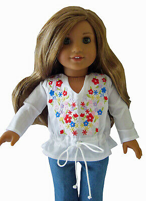 "For 18"" American Girl Embroidered Boho Peasant Blouse Doll Clothes"