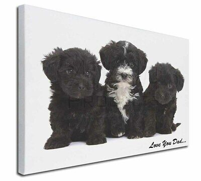 """Yorkipoo Pups 'Love You Dad' 30""""x20"""" Wall Art Canvas, Extra Large, DAD-139-C3020"""