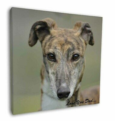 "Brindle Greyhound 'Love You Dad' 12""x12"" Wall Art Canvas Decor, Pic, DAD-173-C12"
