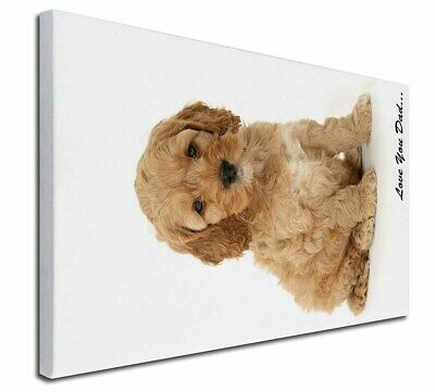 """Cockerpoodle 'Love You Dad' 30""""x20"""" Wall Art Canvas, Extra Large P, DAD-19-C3020"""