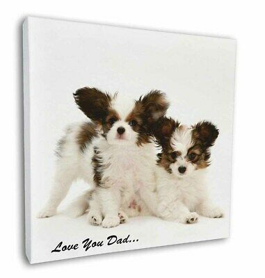 "Papillon Dogs 'Love You Dad' 12""x12"" Wall Art Canvas Decor, Picture , DAD-83-C12"
