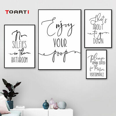 Funny Toilet Words Quote Canvas Wall Poster Picture Calligraphy Painting Print