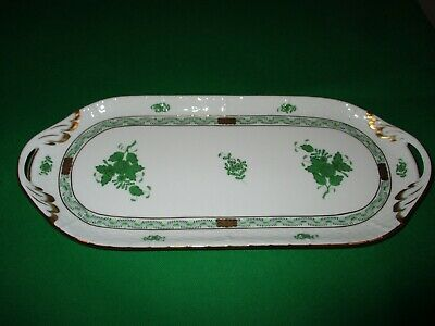"""14 1/2"""" Herend Green Chinese Bouquet Tray"""