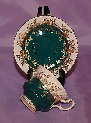 Royal Albert English China Teacup Cup & And Saucer Set ☆ Regal Series Teal Green