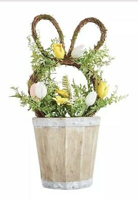 Pier 1 Imports Easter Spring HAPPY EASTER WREATH WITH FLOWER POT