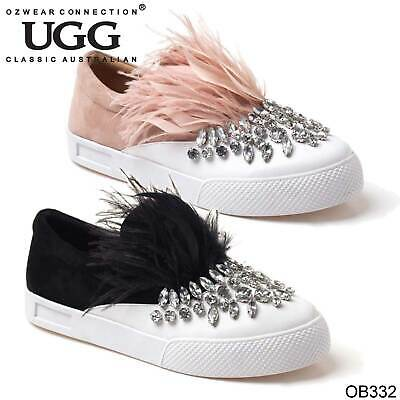 f70f6945cf9 UGG OZWEAR LADIES Rae Slip On Feather Detail Sneakers Leather Casual ...