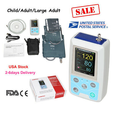CE&FDA Contec ABPM50 Ambulatory Automatic Blood Pressure Monitor(NIBP),3 CUFFS