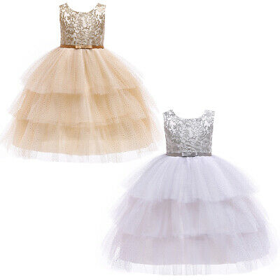Flower Girl Glittering Dots Tulle Dress Kids Wedding Party Pageant Recital Gown