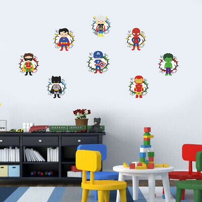 Super Hero Super Man Light Switch Sticker Laptop Window Kids Room Cartoon Decor