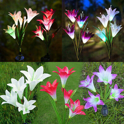 4 LED Solar Powered Lily Flower Stake Garden Yard Lights Outdoor Luminous Lamps