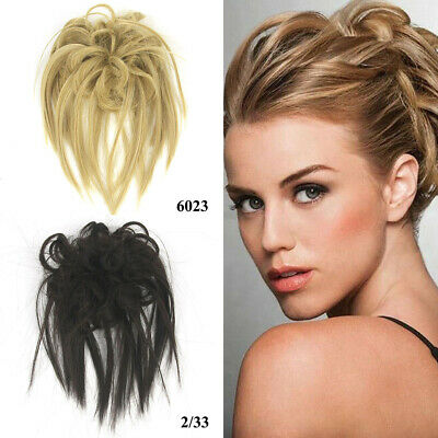 Tousled Updo Messy Ponytail Bun Elastic Hair Band Wrap Hairpiece Wig Charm Acc