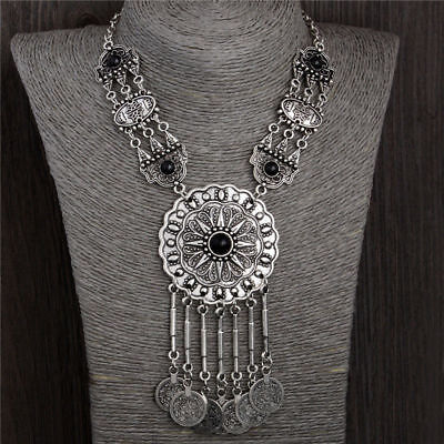 GIFT! Bohemian Ethnic Tribal Silver Coin Tassel Southwest Necklace Gypsy Jewelry