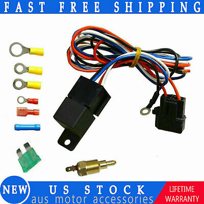 Electric Cooling Thermostat Fan Kit Sensor Temperature Switch Wiring Relay Kit