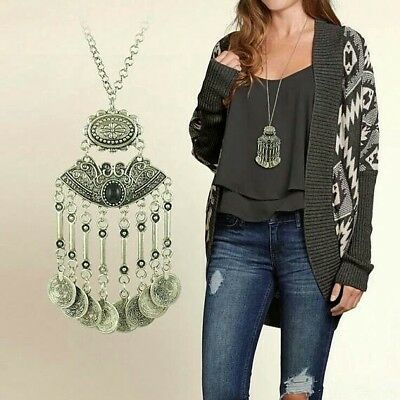 GIFT Womens Boho Ethnic Coin Tassel Necklace Free Gypsy People Coachella Jewelry