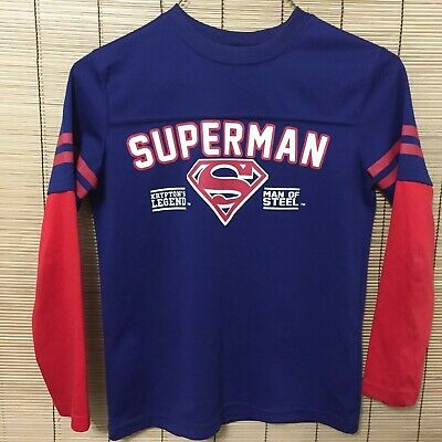 Superman Young Boys Shirt Size  S Navy Red Logo Long Sleeve B7