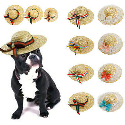 Dog Sombrero Hat Mini Straw Mexican Party Pets Cap Funny Costume Decorations