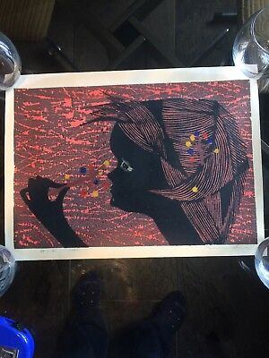 "Tamami Shima Signed Japanese Woodblock Print ""wild Child"" 1961"