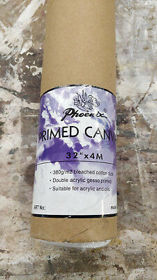 "3 Rolls of Primed Artists Cotton Canvas Roll 32"" x 4m 380g/m2"