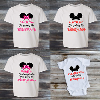 Personalised ADULT MUM DAD were going to disneyland top  T-SHIRT TRANSFER KT20