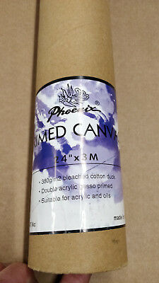 "3 Rolls of Primed Artists Cotton Canvas Roll 24"" x 3m 380g/m2"