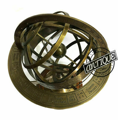 "Vintage Old London Armillary Sphere Clock Globe 5"" inches Small Gift"