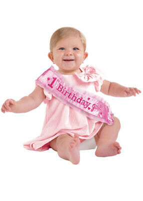 Deluxe Pink 1st Birthday Girl Party Sash