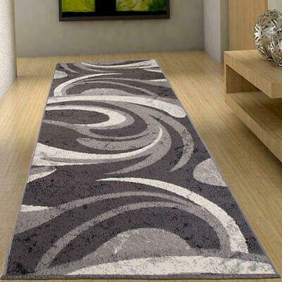 Hall Floor Runners Grey Modern Abstract Wave Pattern New Long Narrow Extra Large